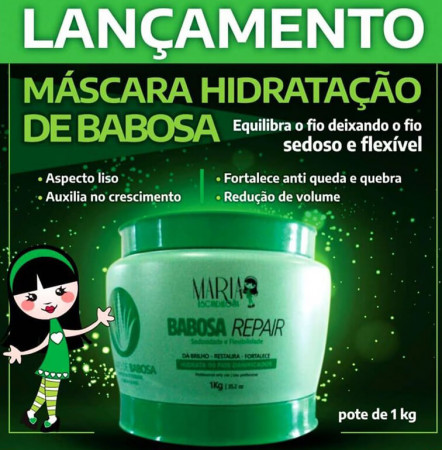 Maria Escandalosa Máscara de Babosa Repair Hidratação 1kg