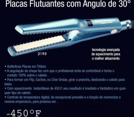 Prancha Nano Titanium Babyliss Placas c/ Angulo de 30º - 110v