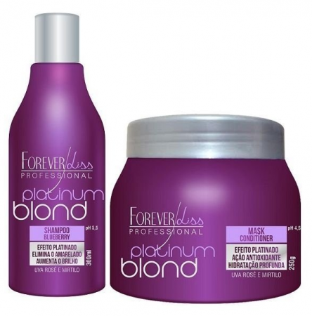 Forever Liss Platinum Blond Kit Matizador Shp 300ml+ Mascara 250g