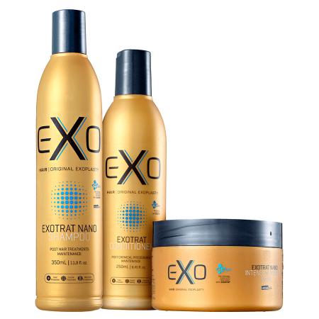 Exo Hair Kit Exotrat Home Care Manutenção Pós Quimica - 3pc