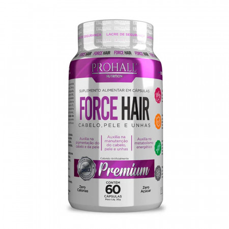 Prohall Force Hair Crescimento Acelerado Cabelo e Unha 60cápsulas