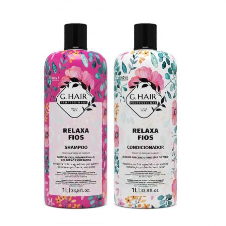 Ghair Relaxa Fios Kit Shampoo e Condicionador 2x1Litro
