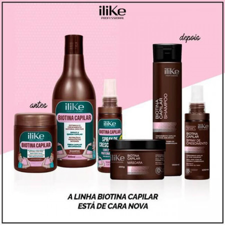 ILike Biotina Capilar Tratamento Cresce e Fortalece Cabelo 3Itens