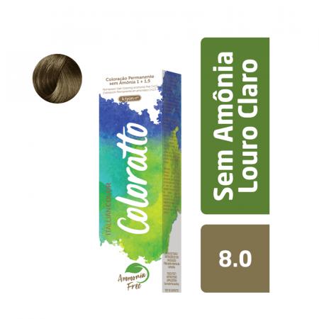 Coloração Sem Amônia Coloratto 60g Louro Claro 8.0