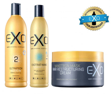 Exo Hair Explastia Passo 2 500ml + Kit Exotrat Pós Quimica
