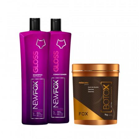 Escova Progressiva New Fox Gloss Kit 2 x 1Litro + Bt.ox 1kg