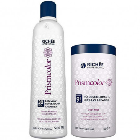 Richée Prismcolor Kit Pó Descolorante + Emulsão Reveladora 30vol