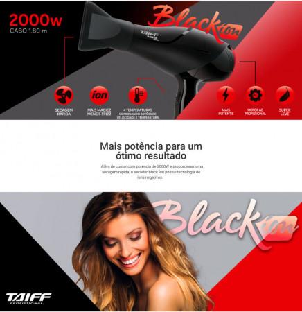 Secador Cabelos Taiff Black Íon Profissional 2000w - 110v
