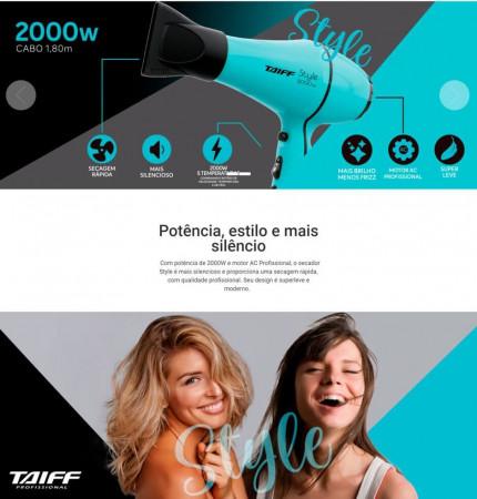 Secador De Cabelo Taiff Style Profissional 2000w - 110v (Azul)
